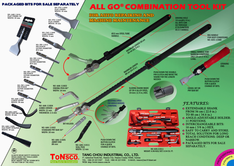 AllGo Combination Tool Kit for Auto Body Repair and Machine Maintenance