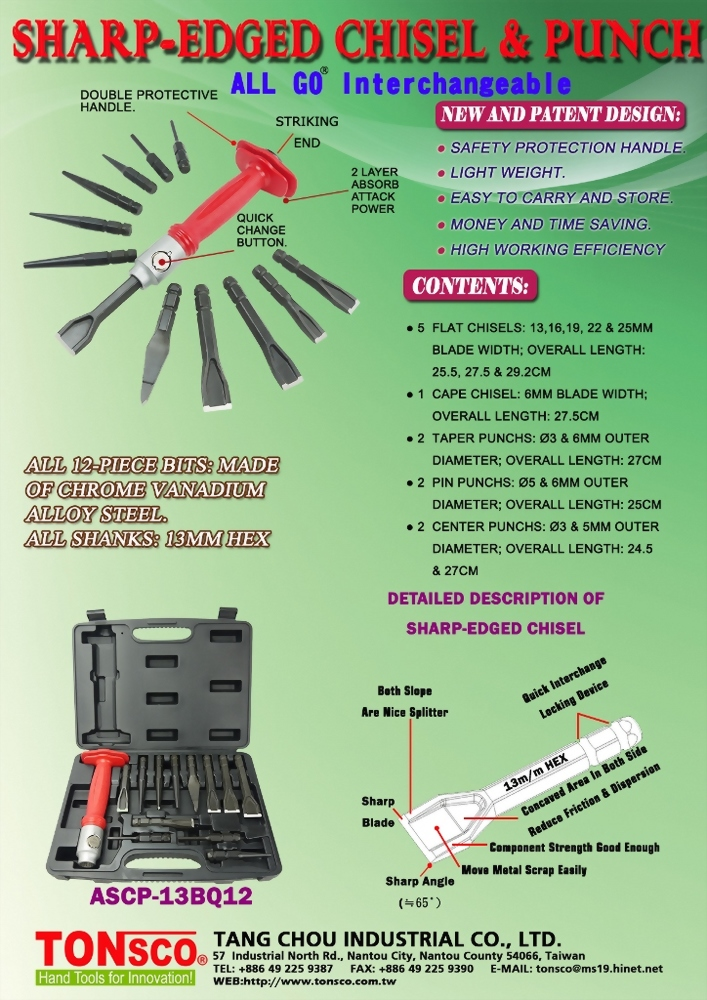 Interchangeable AllGo Sharp-Edged Chisels and Punches