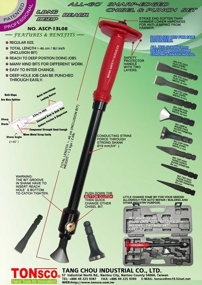 Long Deep Reach AllGo Sharp-Edged Interchangeable Chisels and Punches