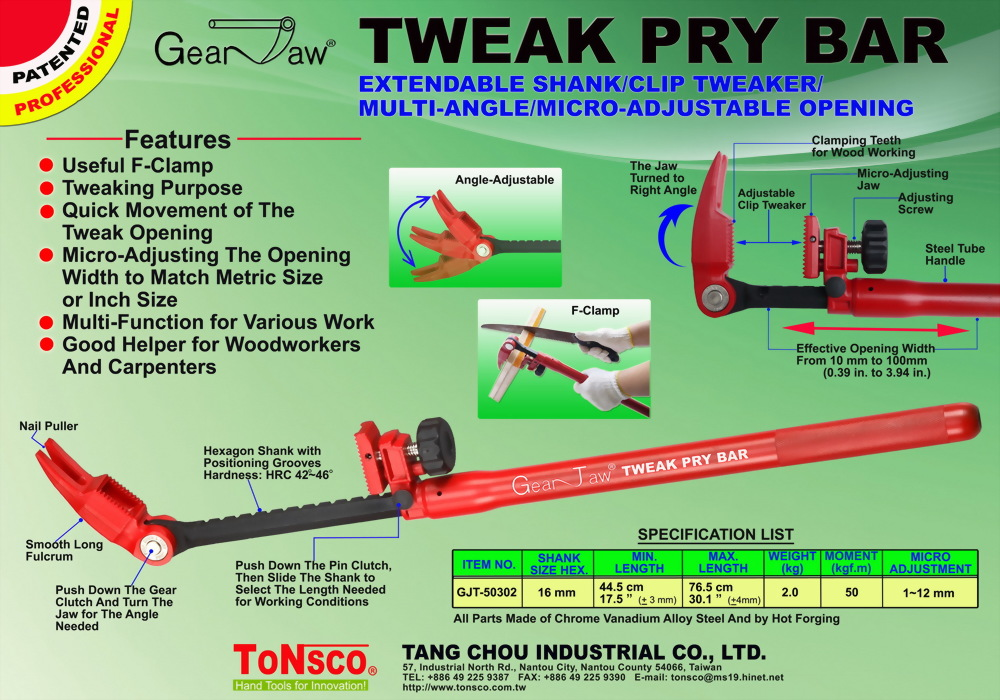 GearJaw(R) Tweak Pry Bar Extendable Shank with Nail Puller
