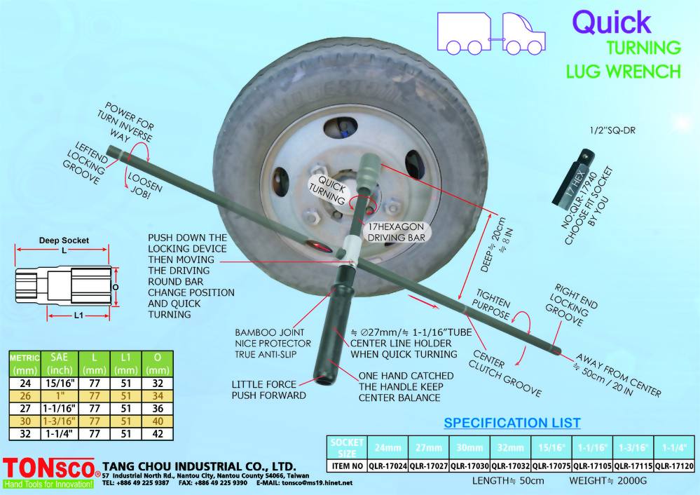 Quick Turning Lug Wrench Heavy Duty for Trucks and Buses