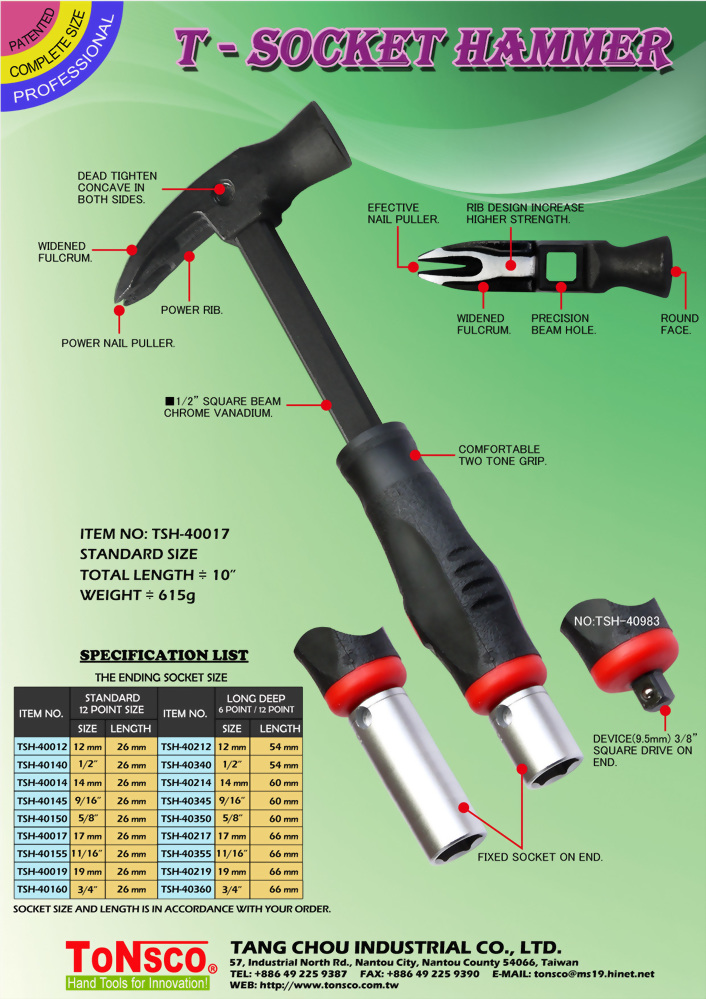 T-Socket Hammer with Long Deep Socket