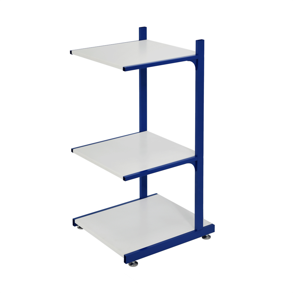 3 shelf rack-blue & white