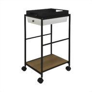 Rolling Metal Serving Cart (1 shelf + metal tray+drawer)