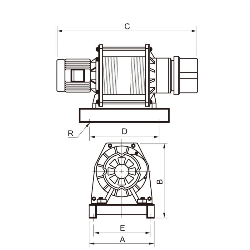 單層鋼索吊貨捲揚機(雙出線)
