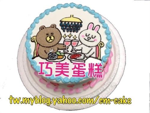 熊與兔吃大餐貼圖造型蛋糕