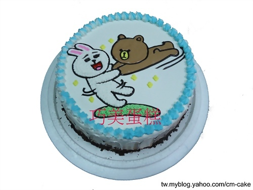 兔與熊大飛天貼圖造型蛋糕