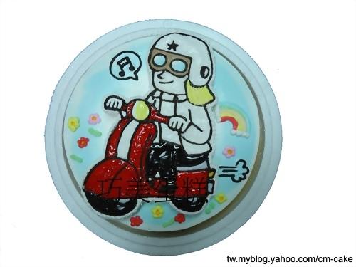 詹姆士騎摩托車貼圖造型蛋糕