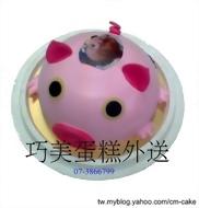 粉紅豬造型相片蛋糕
