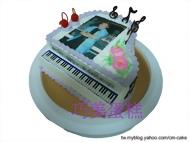 相片+鋼琴造型蛋糕