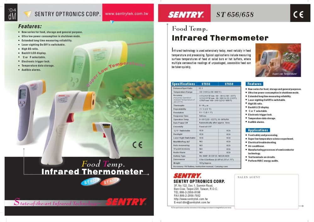 紅外線溫度計 SENTRY ST65X-Food食品專用 (-50°C ~ 316°C)