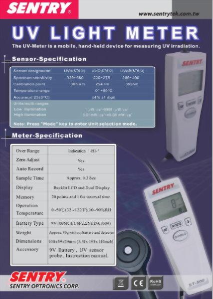 紫外線照度計 SENTRY ST510(UVA)/ST512(UVC)/ST513(UVAB)