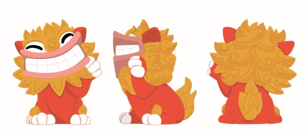 Thiết kế phục hồi ba góc nhìn linh vật Sư tử gió