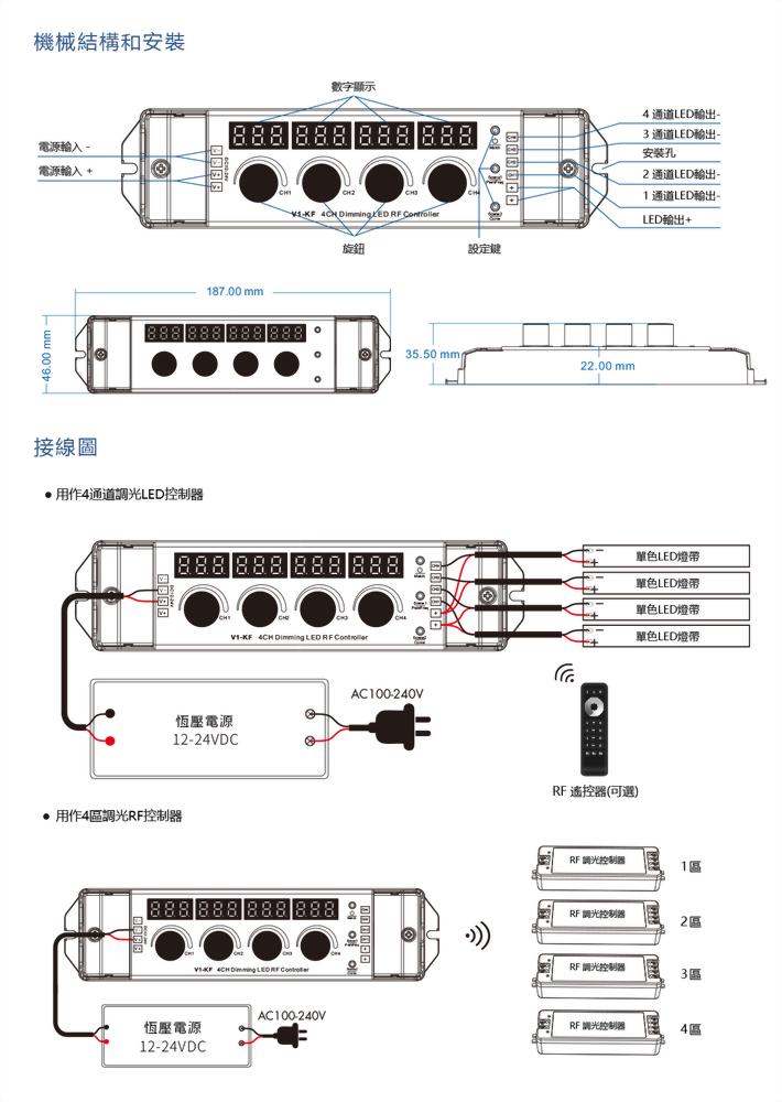 數字碼顯示4×(48-96)W 控制器