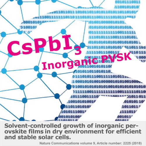 Solvent-controlled growth of inorganic perovskite films in dry environment for efficient and stable solar cells
