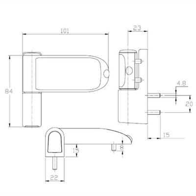 3D FLAG HINGE(MK III)-ZINC DIE CAST