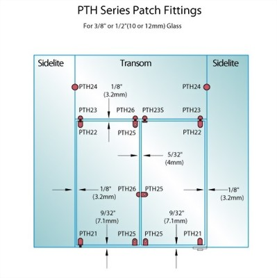 PF Series Patch Fittings - Top Transom Door Stop