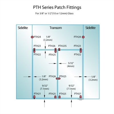 PF Series Patch Fittings - Glass Mounted Patch Lock