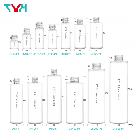 Cylindrical Round Clear Plastic Bottle can match with Cap, Pump, Sprayer and lotion Pump