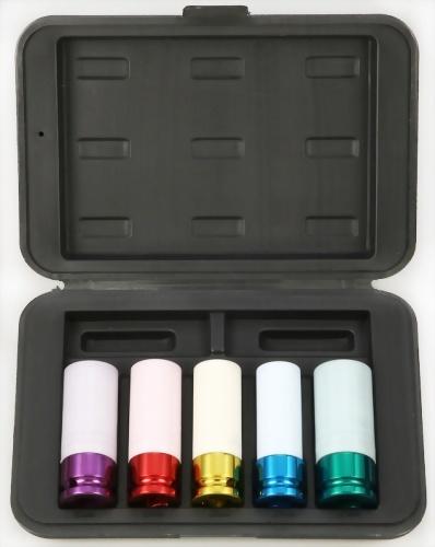"1/2"" 5 Pcs Deep Impact Socket kit (Chrome-Molybdenum Steel) with color"