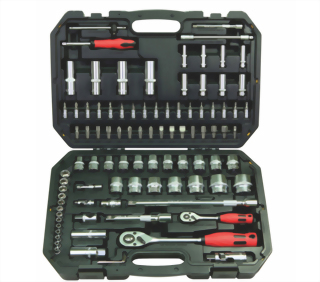 "1/4"", 1/2""  94 Pcs Knurled Socket Ratchet Hand tool Set (Chrome Vanadium MAT Finish)"