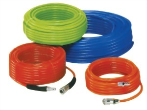 Pu Braid Coil Hose With Male Thread On Both End
