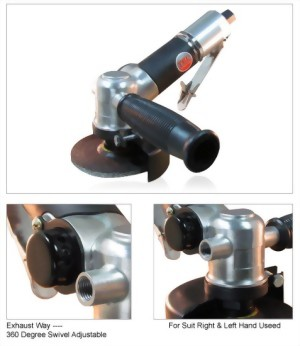 """4"""" Industrial 120 Degree Air Angle Grinder With Roll/Lever Type Throttle"""