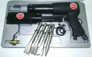 "250mm Hex. Shank Air Hammer With Needle Scaler Attachment & 4 Pcs 5"" Chisels"