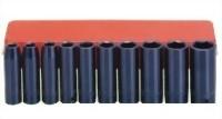 "10 Pcs 1/2"" Deep Air Impact Socket Kit (Chrome-Vanadium Steel)"