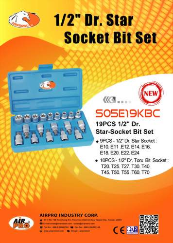 "1/2"" Dr. Star-Socket Bit Set"