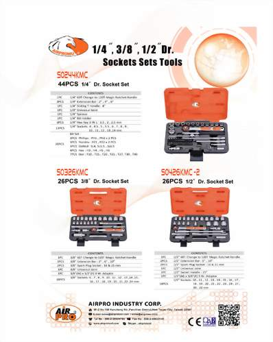 "'1/4"", 3/8""&1/2""Dr. Multilock Socket Wrench Set"