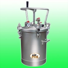 20 LITER STAINLESS STEEL PRESSURE POTS ; TOP FLUID OUTLET w/MANUAL  AGITATOR
