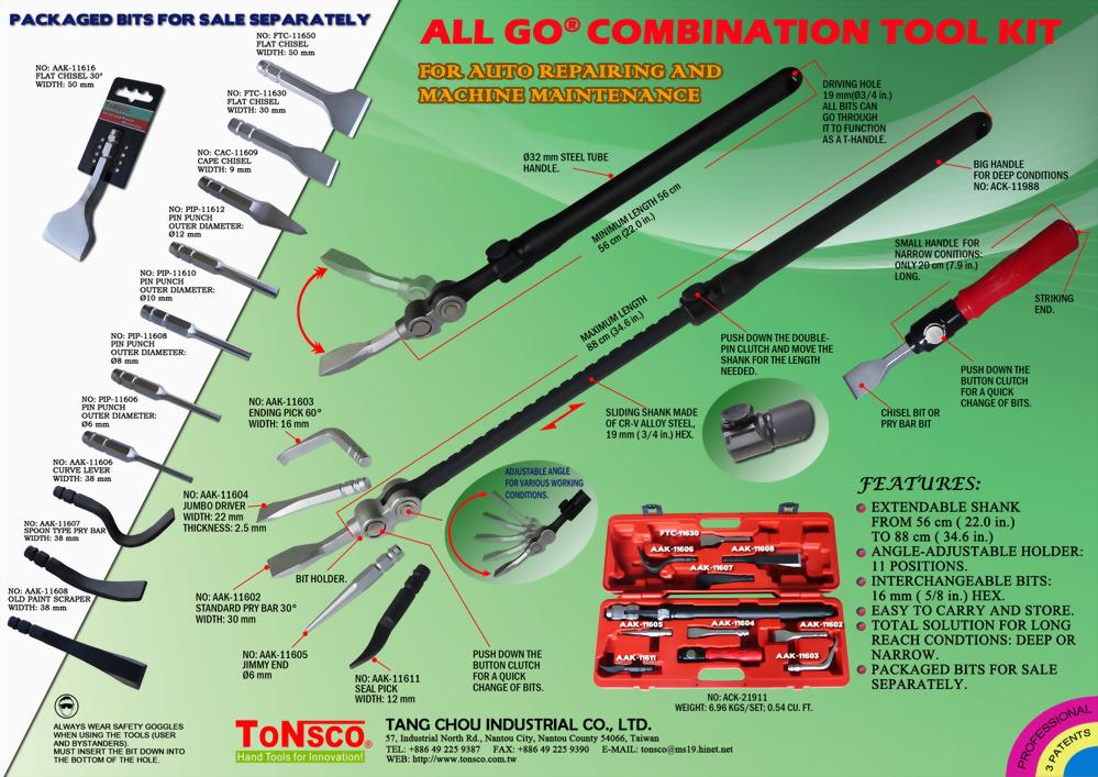 AllGo Combination Tool Kit for Auto Body Repair and Machine Maintenance