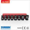 """8PCS 3/8""""AIR SOCKET SET(WITH GROOVE)-CR-MO"""