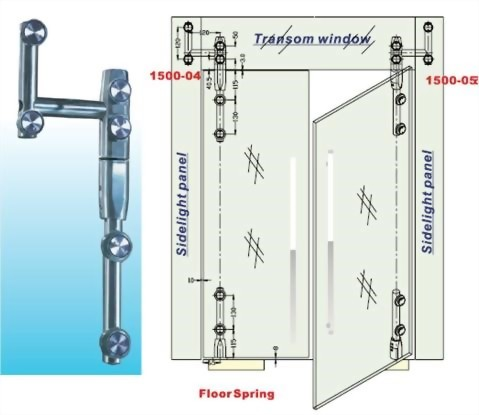Transom And Sidelight Panel To Glass Door Pivot Bar Set –For Left Door Glass To Glass 1500SUS-04-Sunken Screw Series