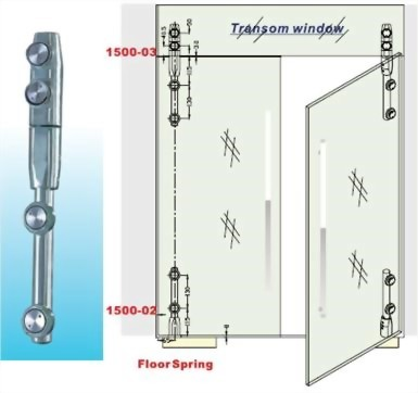 Transom Window To Glass Pivot Bar Set-Glass To Glass 1500SUS-03-Sunken Screw Series
