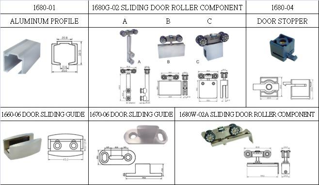 Sliding Door System Aluminum Rail Fitting System 1680