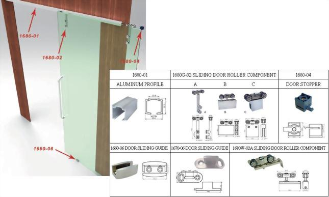 Sliding Door System-Aluminum Rail Fitting System 1680 2