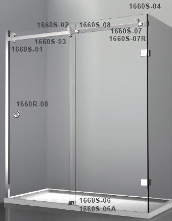 Factory Supplier Sliding Glass Door System For Glass Shower 1660s