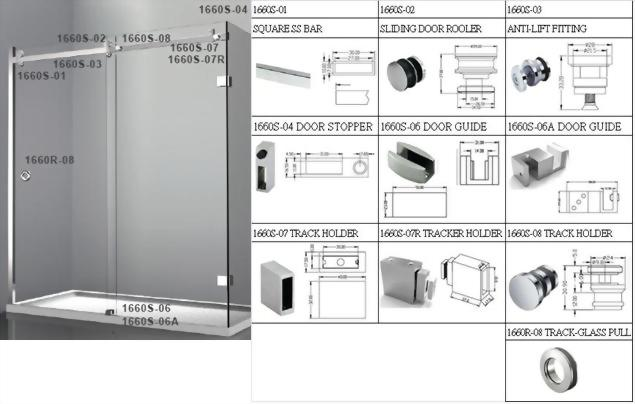 Factory Supplier-Sliding Glass Door System for Glass Shower -1660S SERIES 2