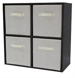 4 Cube Organizer With 4 Beige Drawer