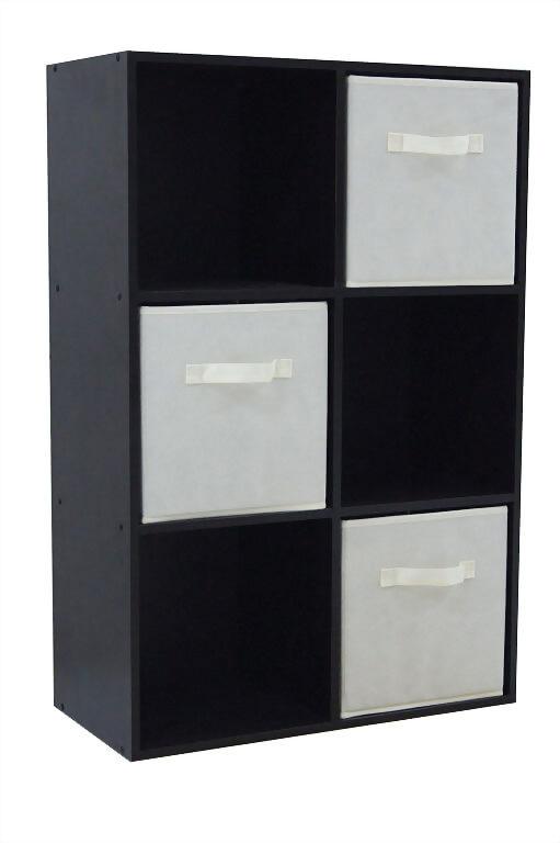 6 Cube Organizer With 3 Beige Drawer