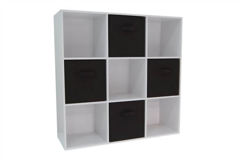 9 Cube Organizer With 4 Beige Drawer
