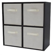 4 Cube Organizer With 4 Beige Drawer