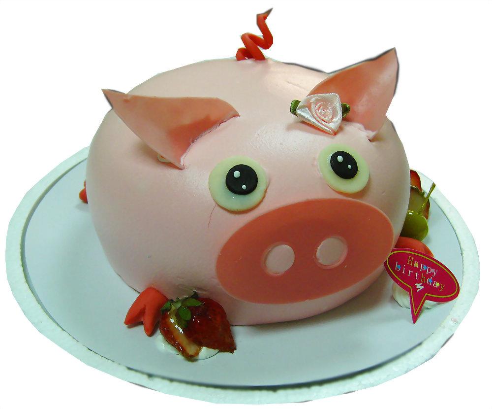 造型蛋糕 | 優仕紳粉紅豬蛋糕