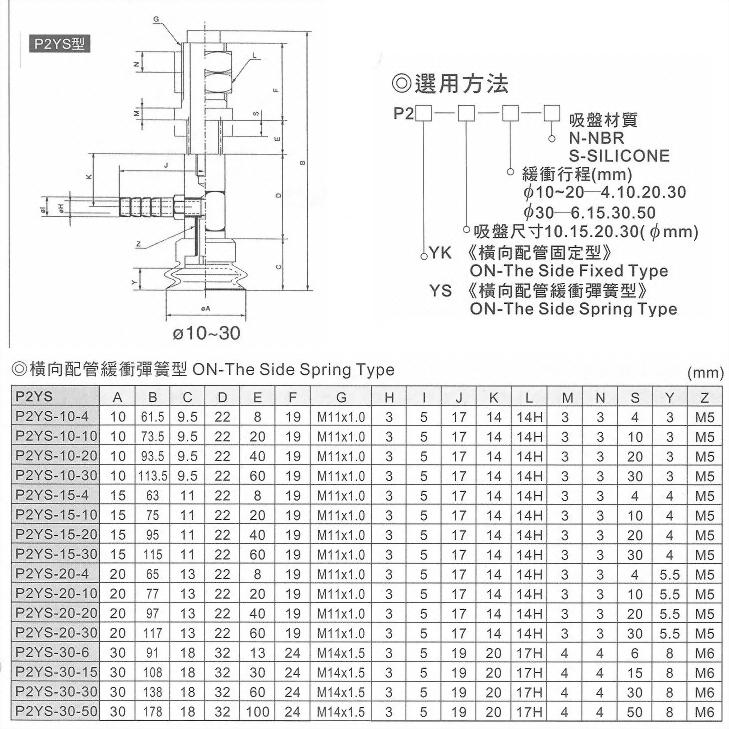P2YS真空系列-P2系列(雙層吸盤)橫向配管緩衝彈簧型
