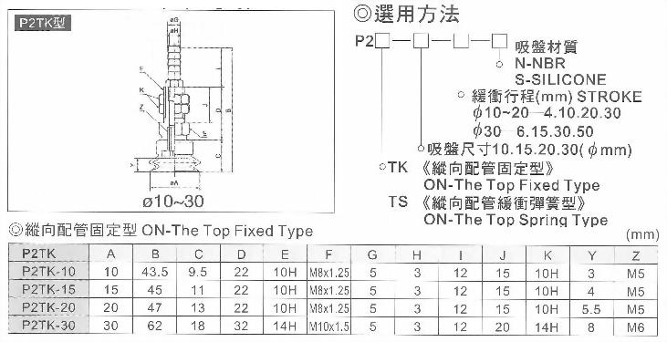 P2TK真空系列-P2系列(雙層吸盤)縱向配管固定型