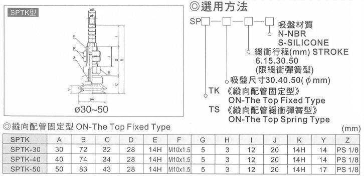 SPTK真空系列-SP系列(雙層吸盤)縱向配管固定型