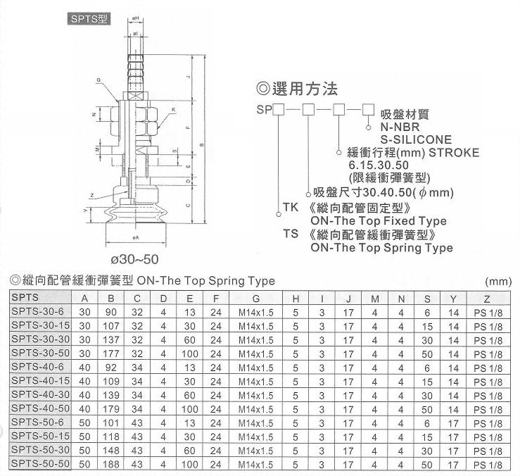 SPTS真空系列-SP系列(雙層吸盤)縱向配管緩衝彈簧型