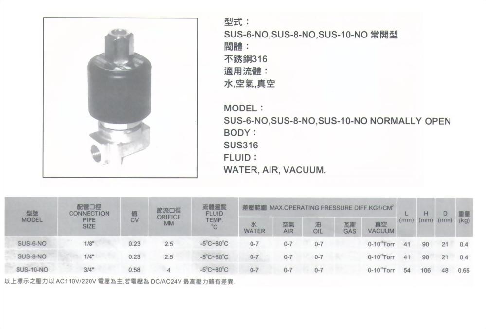 SUS-6-NO,SUS-8-NO,SUS-10-NO常開型